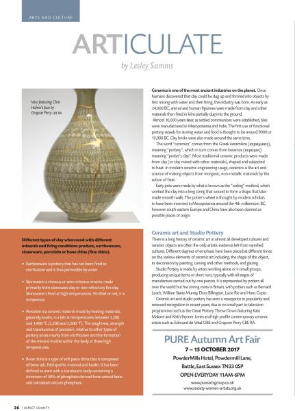 Article Pure Arts by Lesley Samms / August 2017 / 1