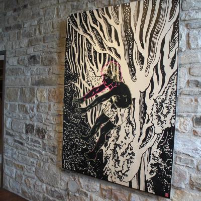 Dans la Cascade d'Hokusaï, peinture sur bois, 123 x 170 cm / Elia Pagliarino