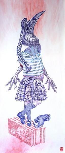 Le Joueur de Cornemuse, encres sur papier marouflé sur tissu, 50x135 cm  //  by elia pagliarino
