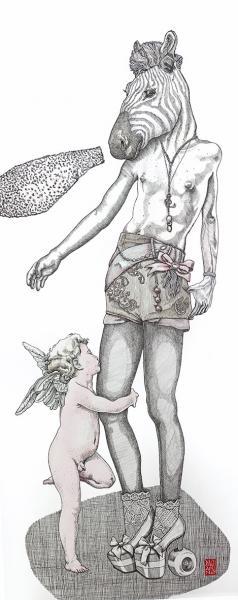 Le Petit Amour, 50x120 cm, encres sur papier marouflé sur tissu  //  elia pagliarino