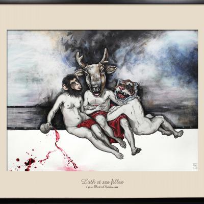 Loth et ses Filles / elia pagliarino / (d'après l'œuvre de Hendrik Goltzius) / 123 x 100 cm
