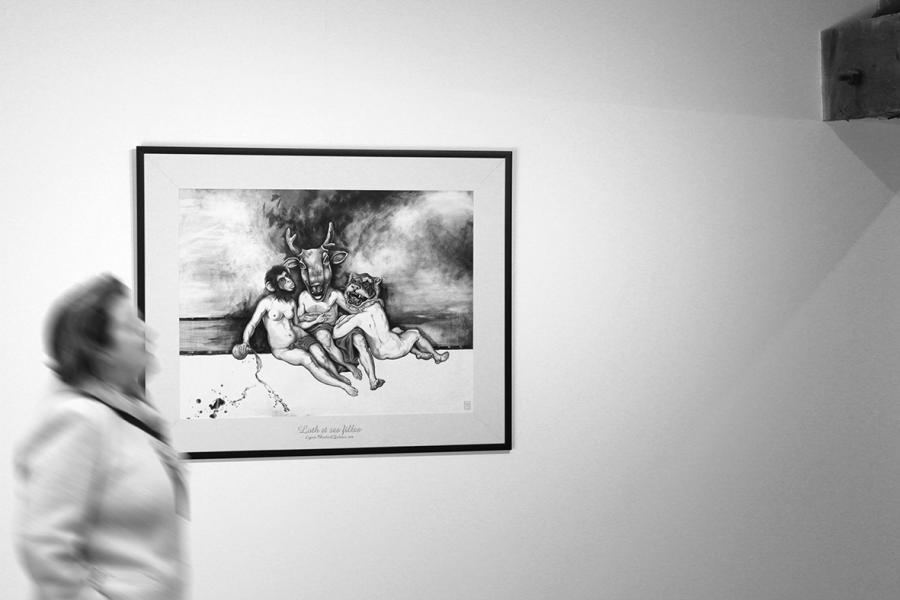 Loth et ses Filles, encres et acrylique sur papier, elia pagliarino