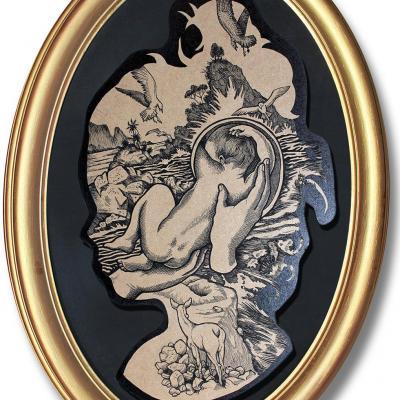 Profilo, la Naissance, peinture sur bois / Elia Pagliarino