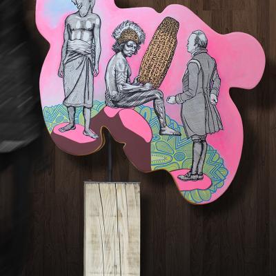 -« RongoRongo », 2018 /  sculpture acrylique sur bois et métal / 105x175x35 cm