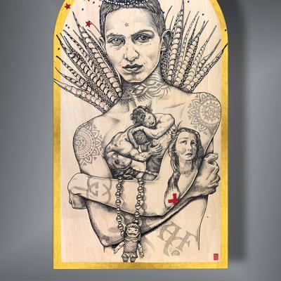 THEATRE VIII, Stardust / peinture, cabochons & paillettes sur bois / 62 x 112 cm