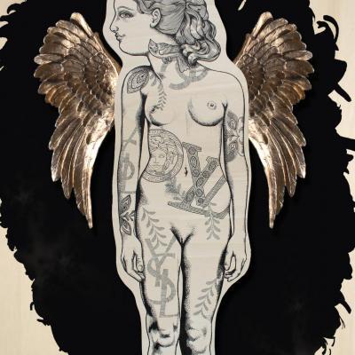 Théâtre VI l'Ange / peinture sur bois, résine /  90 x 130 cm
